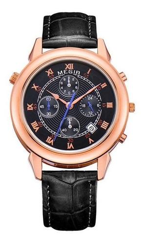 reloj de lujo megir doble hora cronometro