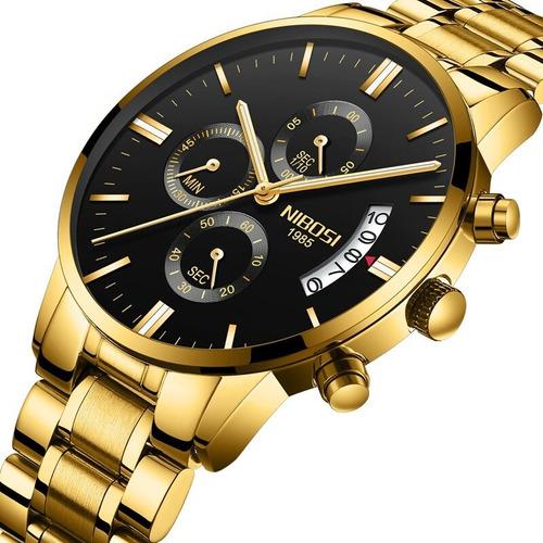 reloj de lujo para hombres nibosi dorado impermeable