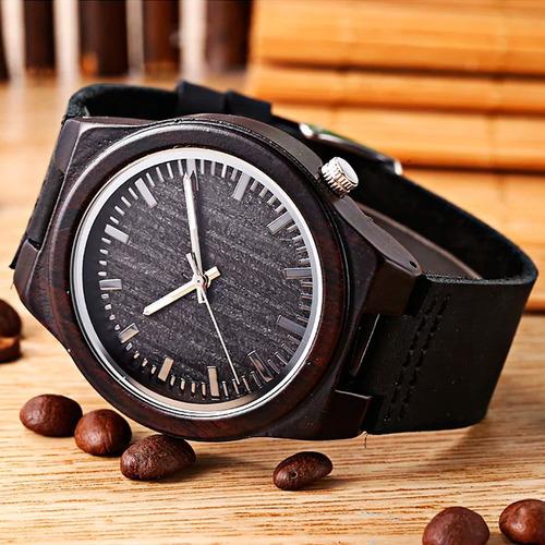 reloj de madera, bamboo exclusivos, nuevos - importafacil