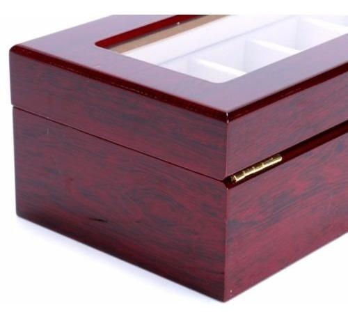 reloj de madera de gran yaekoo caja 6 ranuras mostrar joyas