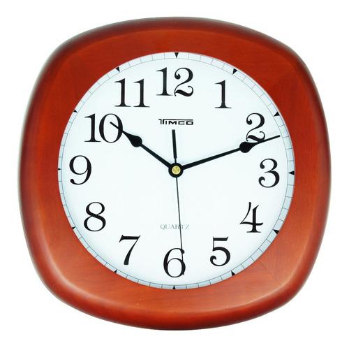 reloj de madera semi cuadrado 27.5 cm 3907