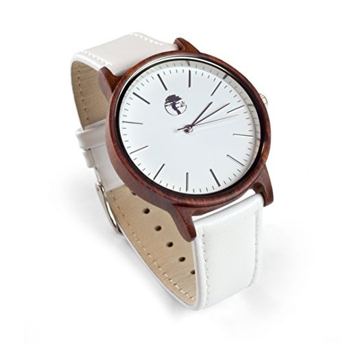 reloj de madera viable harvest para hombre, sándalo rojo nat