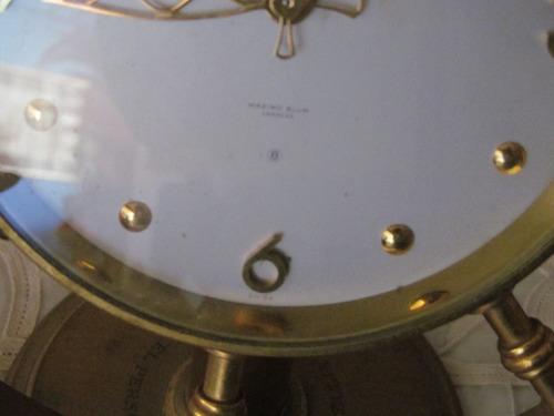 reloj de mesa  angelus  de cuerda 8 días bronce año 54