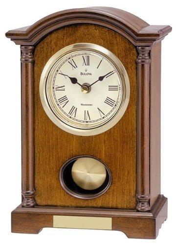 reloj de mesa bulova dalton chiming péndulo - acabado en nog
