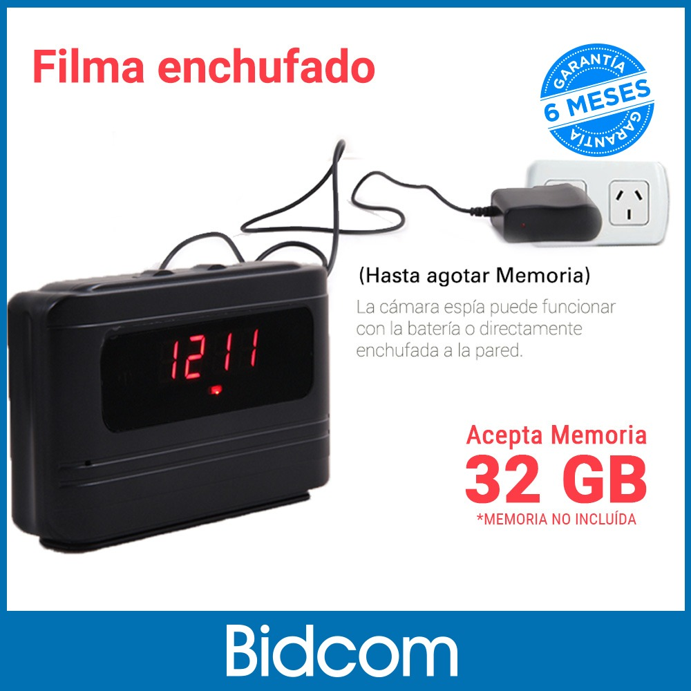 da492037cd00 Reloj De Mesa Espia Con Mini Camara Oculta Lente Ojo De Pez ...