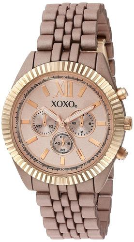 reloj de metal y aleación de cuarzo de mujer xoxo, color: ro