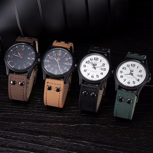 reloj de moda para hombre tipo piel con fecha
