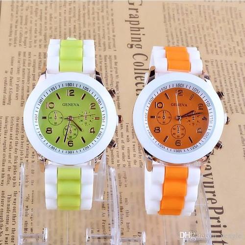 reloj de moda para mujeres damas correa silicona doble color