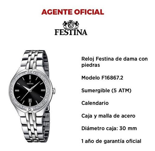 reloj de mujer festina con piedras de acero f16867
