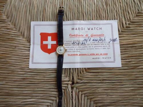 reloj de mujer  margi,  18 k oro sólido vintage..
