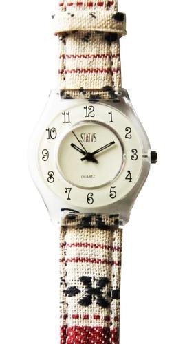reloj de mujer status extra chato con malla de tela con gtía