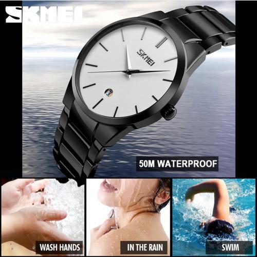 reloj de negocios marca skmei 9140 hombre moda + estuche