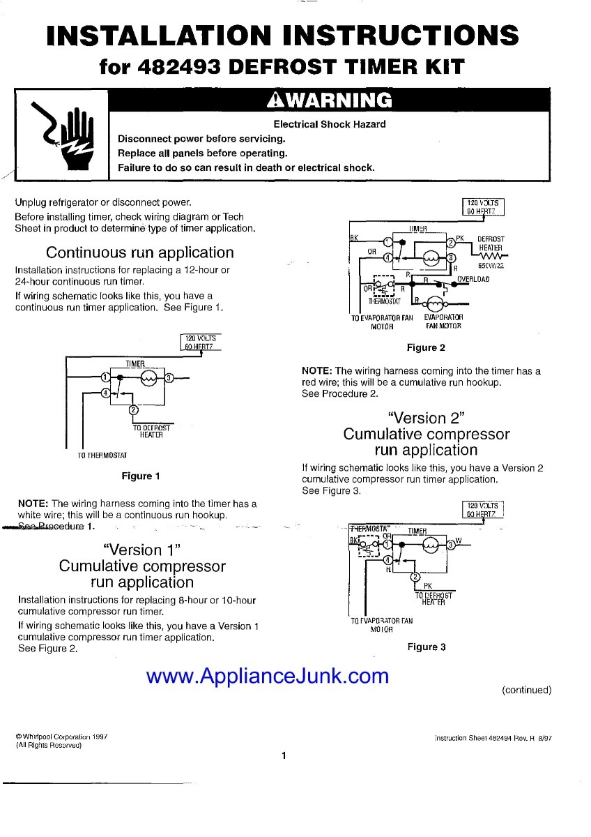 Reloj De Nevera O Timer Kit Whirlpool 482493 Nuevo Original Bs Defrost Wiring Diagram Cargando Zoom