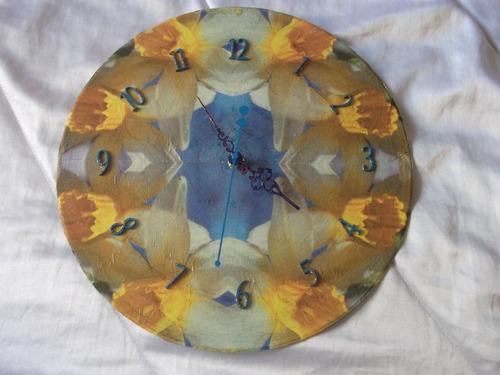 reloj de pared artesanal, tecnica decoupage