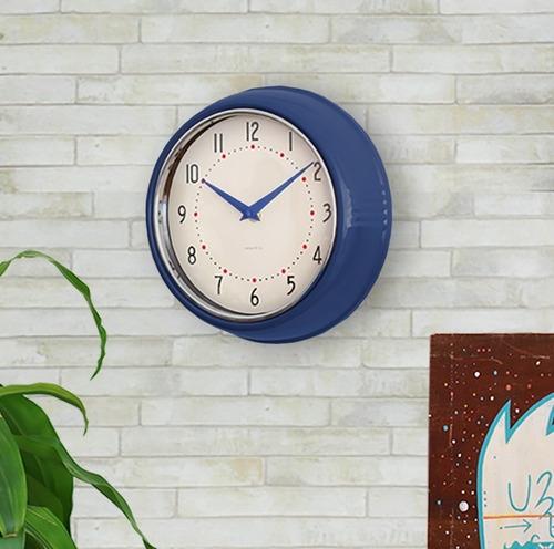 reloj de pared azul marco metal