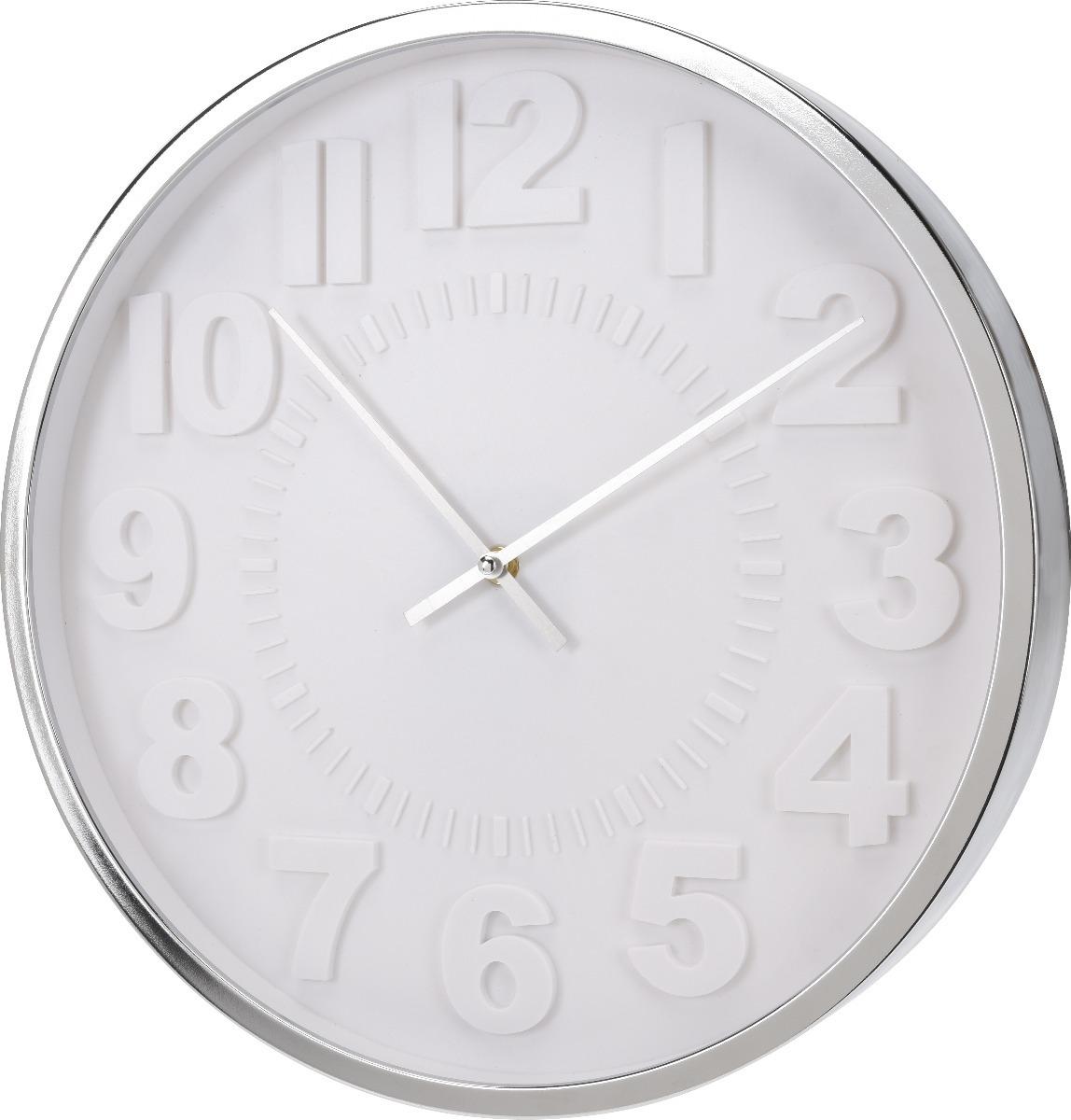 Reloj De Pared Blanco Con Marco Cromado Atma Home - $ 1.999,00 en ...