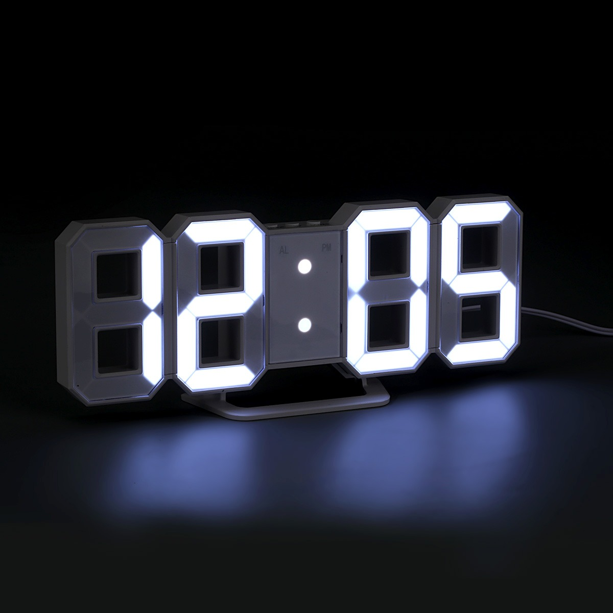 00177e3dd20e Reloj De Pared Blanco Digital Números Digital Led Con 3 Niv ...