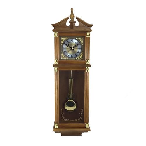 reloj de pared con números romanos acabado roble antiguo