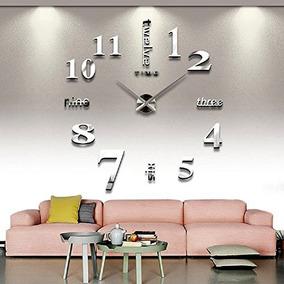 8527f0bb992b Reloj De Pared 3d Para Decoración Grande Plateado - Decoración para ...