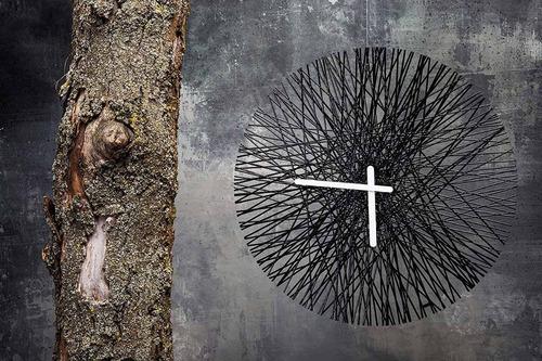 reloj de pared cuarzo moderno importado ligero koziol negro