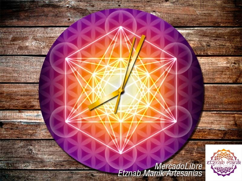 Reloj De Pared Cubo Metatron Flor De La Vida Mandala 38000 En