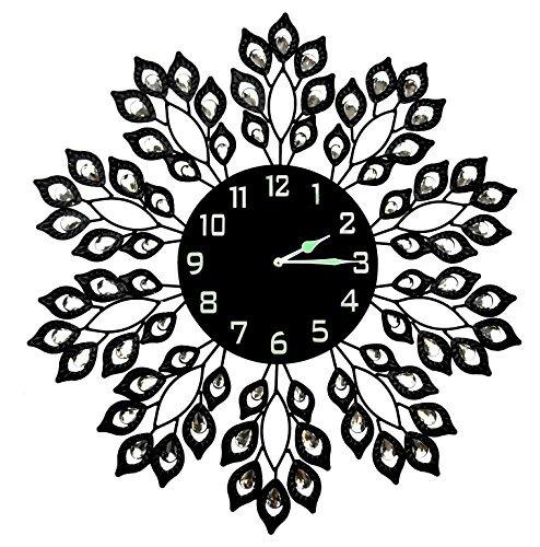 reloj de pared de metal decorativo negro de la hoja de lulu