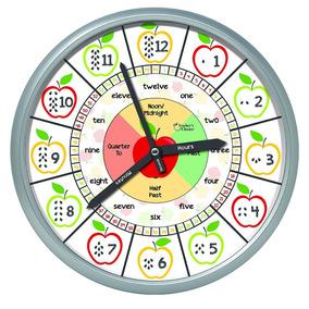 4084cb7c2b66 Reloj De Pared Educativo Aprendizaje De Inglés Para Niños