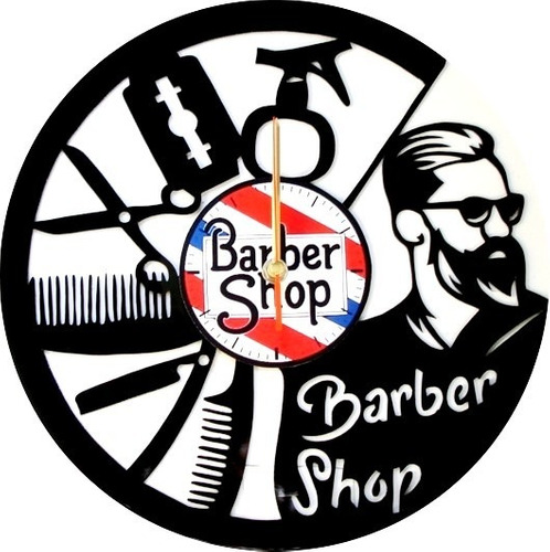 reloj de pared en disco de acetato o lp barber shop