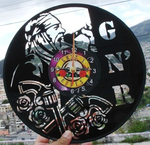 reloj de pared en disco de acetato o lp gun's and roses