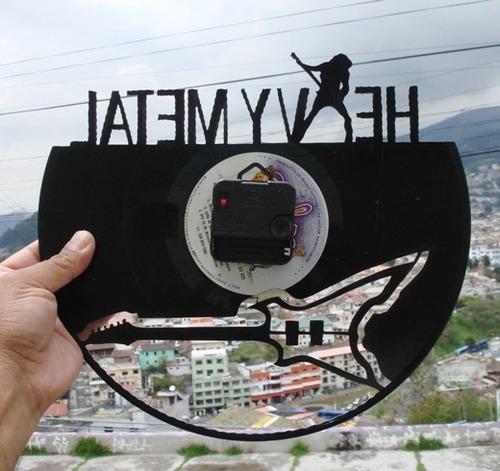 reloj de pared en disco de acetato o lp heavy metal
