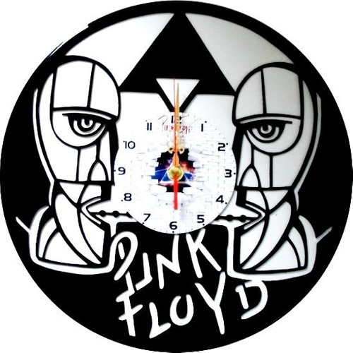 reloj de pared en disco de acetato o lp pink floyd