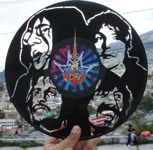 reloj de pared en disco de acetato o lp the beatles