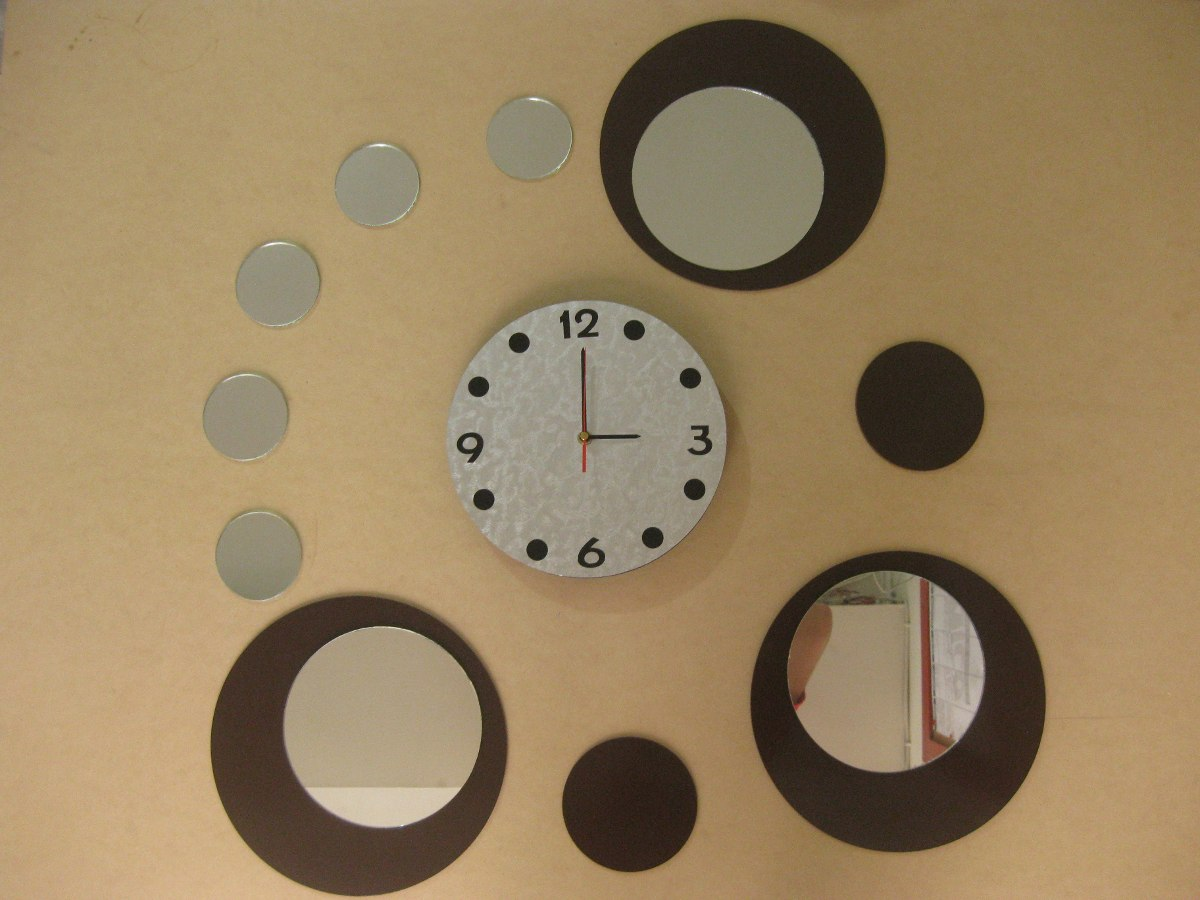 Reloj de pared en madera con espejos redondos env o for Espejos redondos de madera