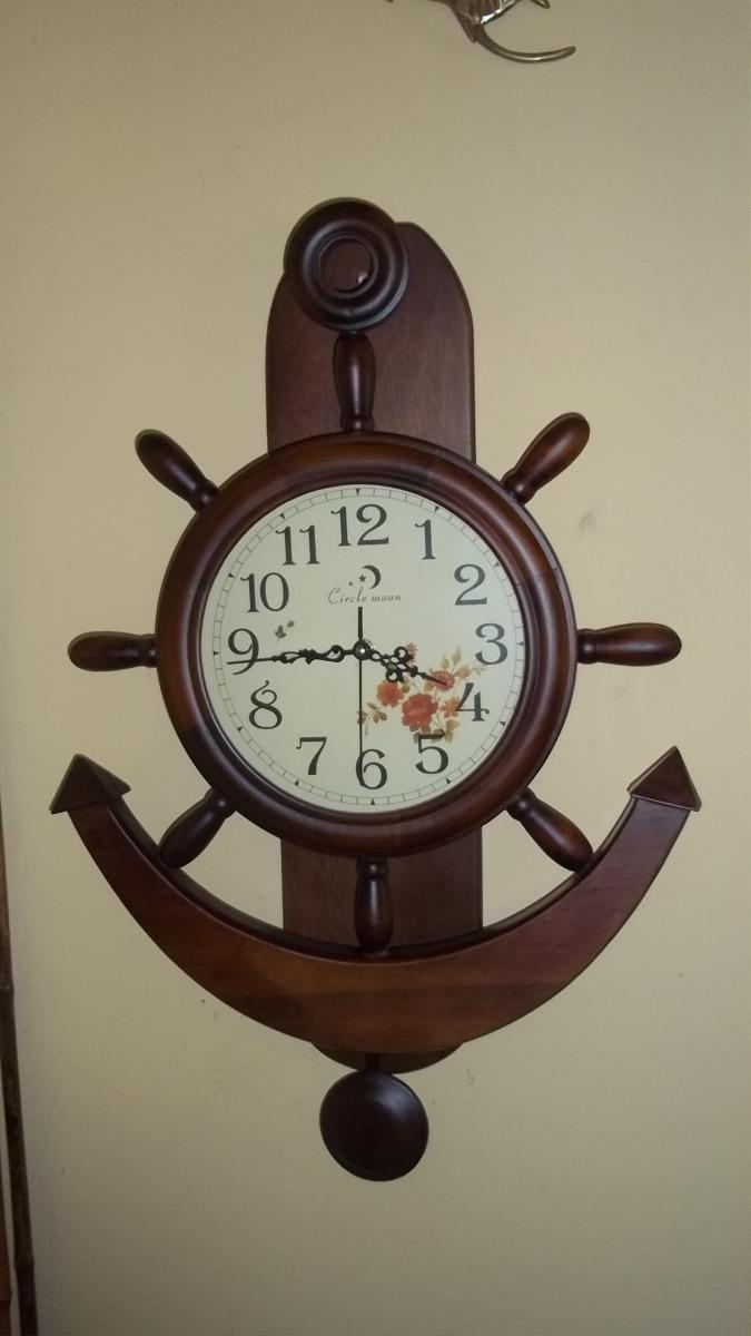 Reloj de pared en madera tim n y ancla con pendulo 120 - Comprar mecanismo reloj pared ...
