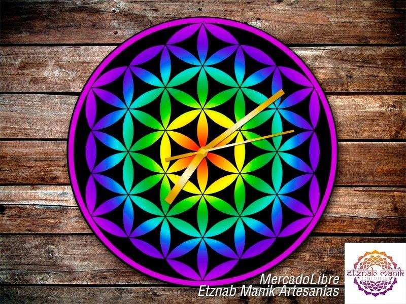 Reloj De Pared Flor De La Vida Mandala Sagrado 38000 En Mercado