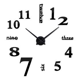 Reloj De Pared Grande En 3d Color Negro