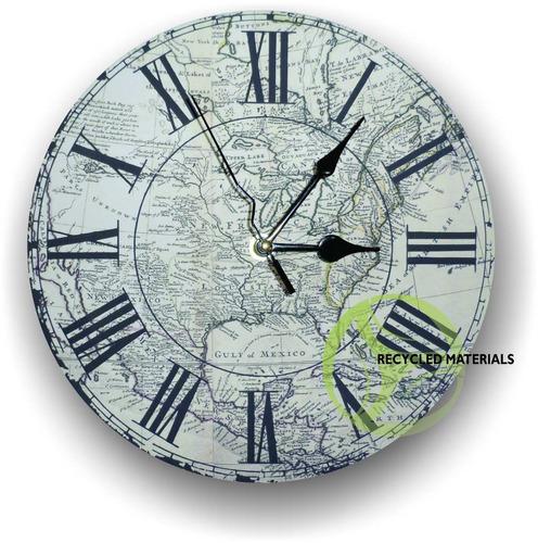 Reloj de pared mapas antiguos vintage en - Relojes rusticos de pared ...