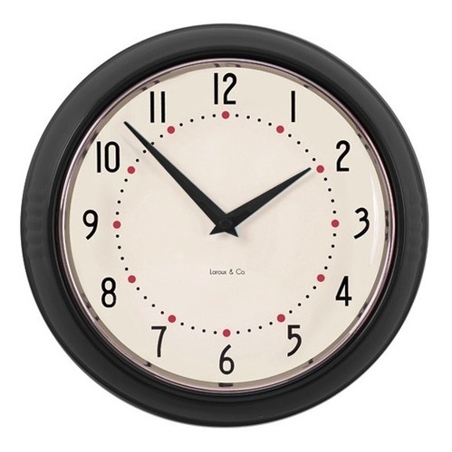 reloj de pared negro retro marco metal