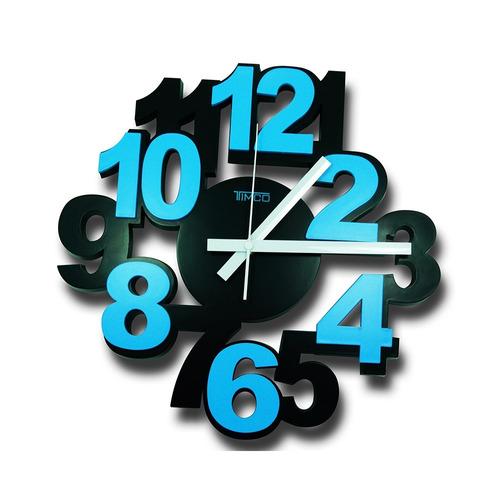 reloj de pared números 3d loc-azul