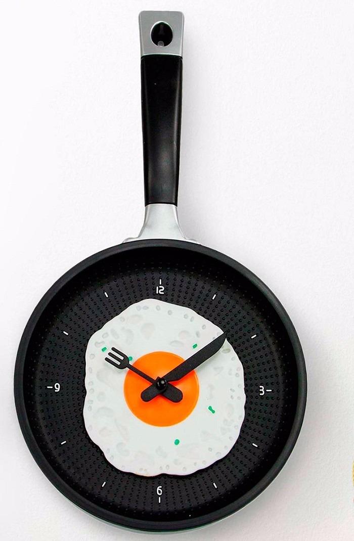 Reloj de pared para cocina dise o sarten con huevo - Relojes para cocinas modernas ...
