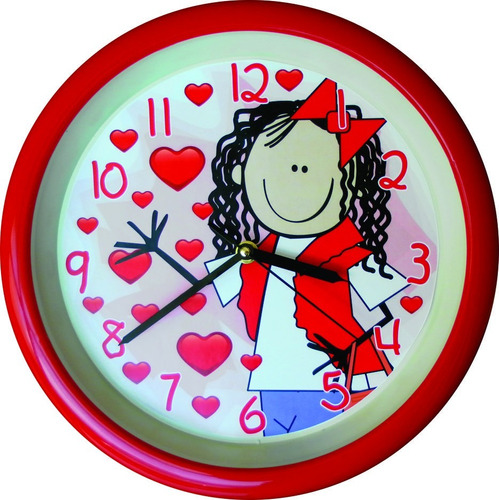 reloj de pared para niña corazones rojos