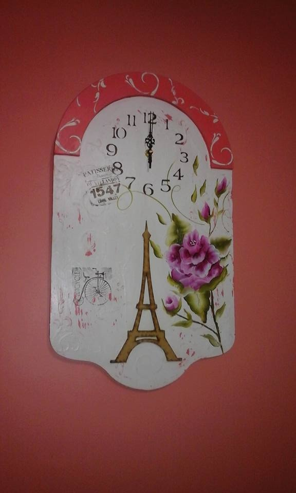 A De Estilo Pared Vintage Reloj Pintado Mano gy6vb7Yf