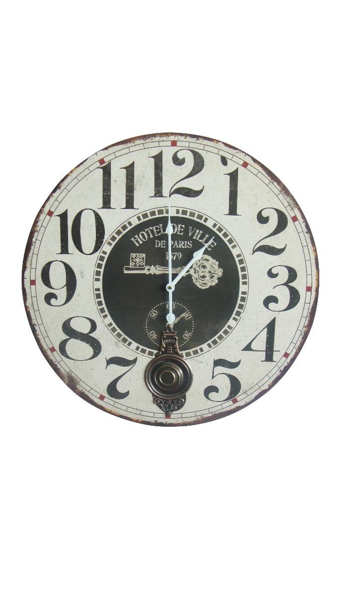5ac1834d8dd0 reloj de pared redondo 58cm c pendulo de madera (3892). Cargando zoom.