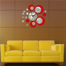 reloj de pared rojo gris