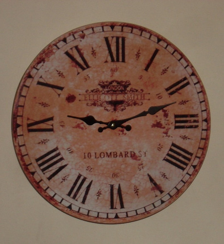 reloj de pared simil antiguo - en madera - 35 cm de diametro
