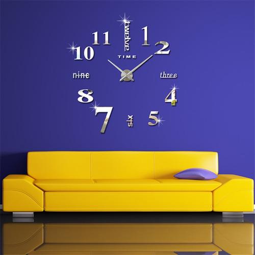 reloj de pared sin marco 3d diy relojes decoraciones -plata