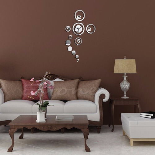 reloj de pared sticker circular decorativo reflejante