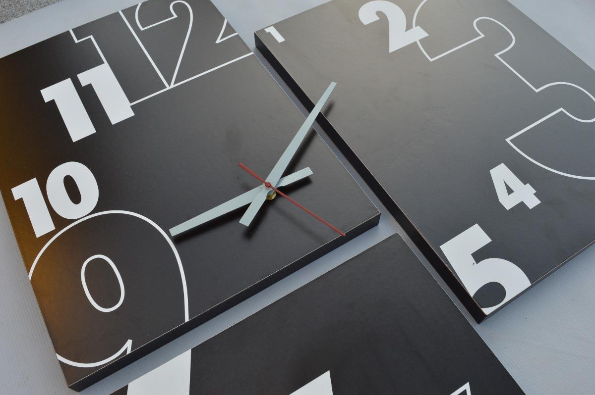 c35fb64c206e Reloj De Pared Tríptico 70x70cm Cuadro Diseño Moderno -   650