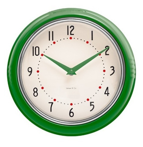 reloj de pared verde  retro marco metal