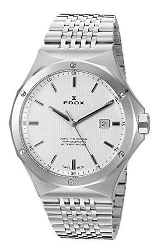 reloj de plata de cuarzo suizo 53005 3m ain delfin edox para